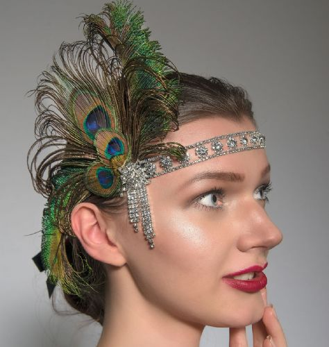 "Green Black Peacock Feathers Crystal ""Kat"" Headband Headpiece 1920s Art Deco Gatsby Flapper Inspired"